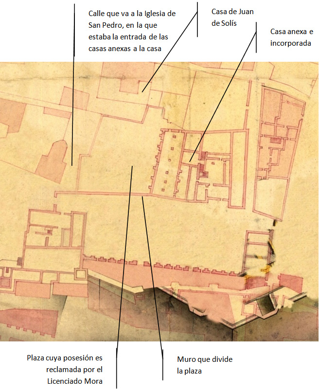 Lám. 11. Casas anexas y casa lindera de Juan de Solís y muro que dividía la plaza, en el plano de Ignacio de Salas de 1739