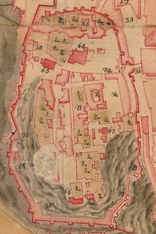 Lám. 13. Detalles del Castillo del plano anónimo de Badajoz de 1739.