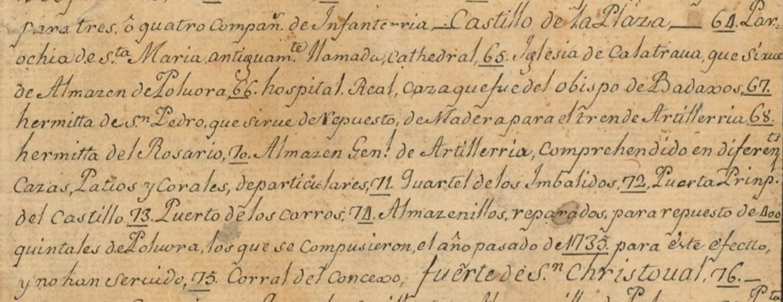 Lám. 13 B. Detalles de la leyenda del plano anónimo de 1739.