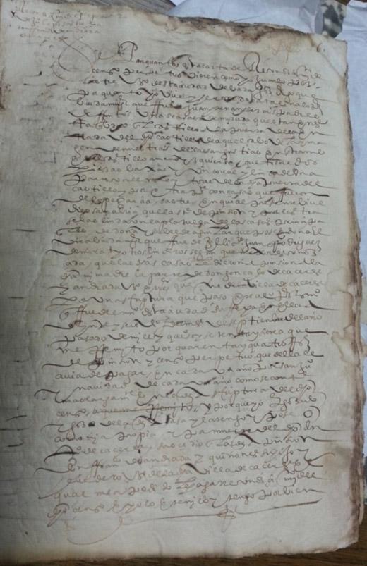 Lám. 15. Censo de las Casas linderas a la plazuela de las casas de Isabel de Aguilar. Archivo Histórico Provincial de Badajoz. Octubre de 1604.