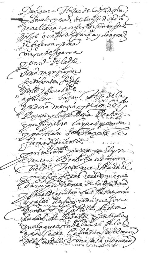 Lám. 18. Descripción de las casas principales de Isabel de Agular y Figueroa en la Carta con la Cuenta y Partición de sus bienes.