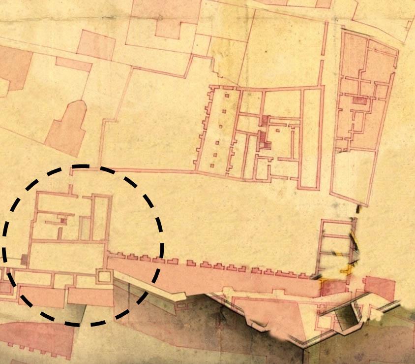 """Lámina 15. Detalle de la hoy conocida como """"Casa de Zapata"""" en el plano de Ignacio de Sala del 1739."""