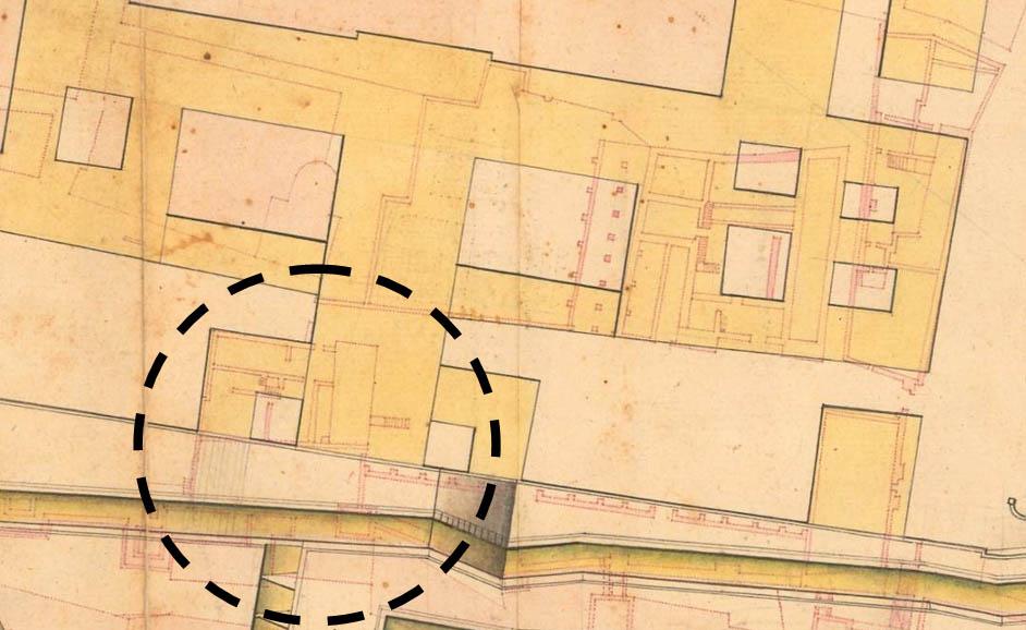 """Lámina 17. Detalle de la llamada """"Casa de Zapata"""" en un plano anónimo, posiblemente de Diego de Bordick."""