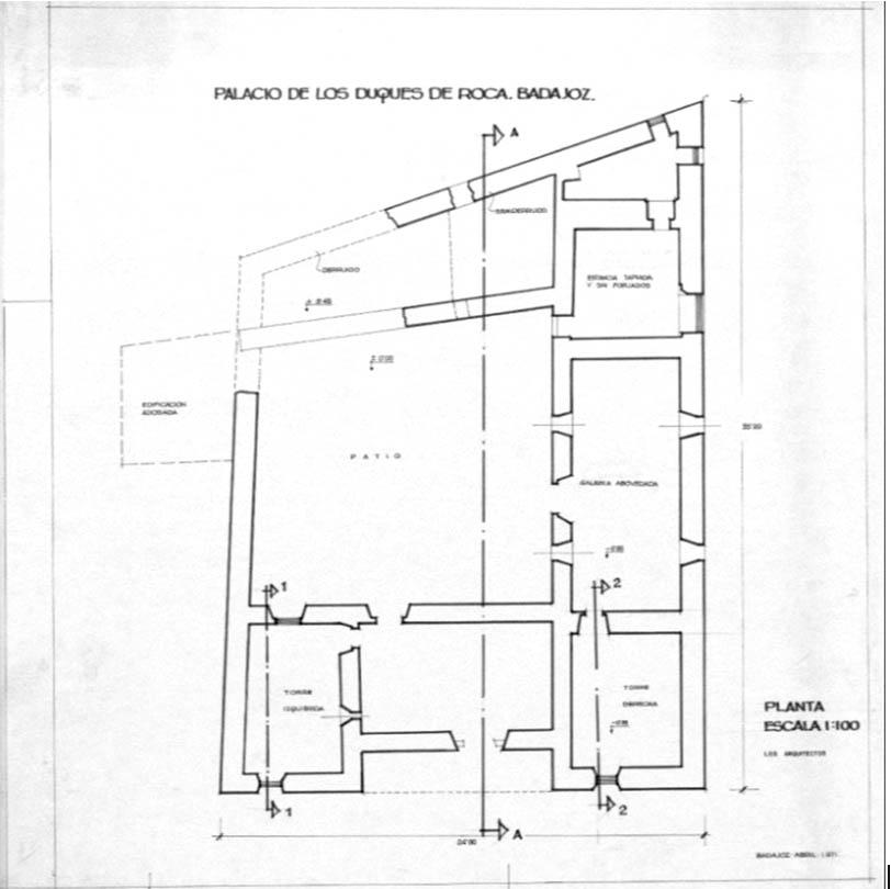 Lámina 18. Plano del edificio del Museo Arqueológico Provincial de Badajoz, antes de su restauración. 1971.