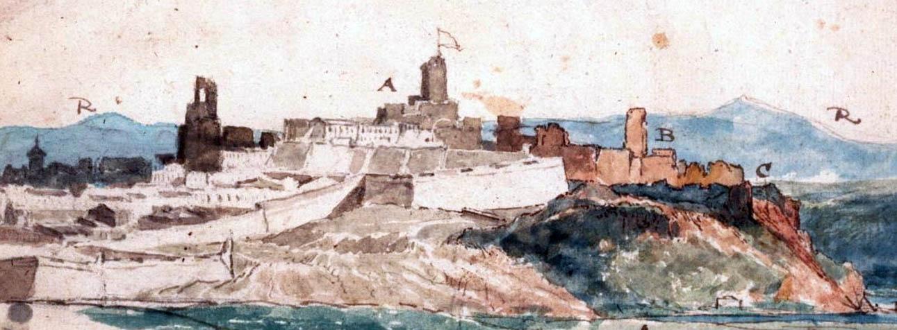 Lámina 3. Detalle del castillo en la acuarela anónima de 1811.
