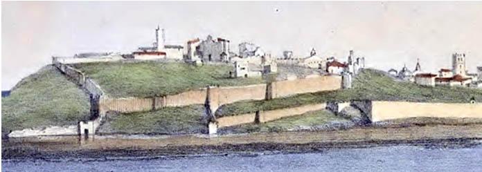 Lámina 4. El castillo de Badajoz en 1823, de John Cumberland.