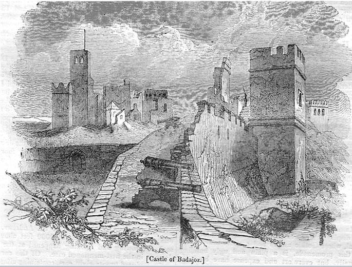 Lámina 5. Las ruinas del palacio y la torre de Santa María en un dibujo de 1837