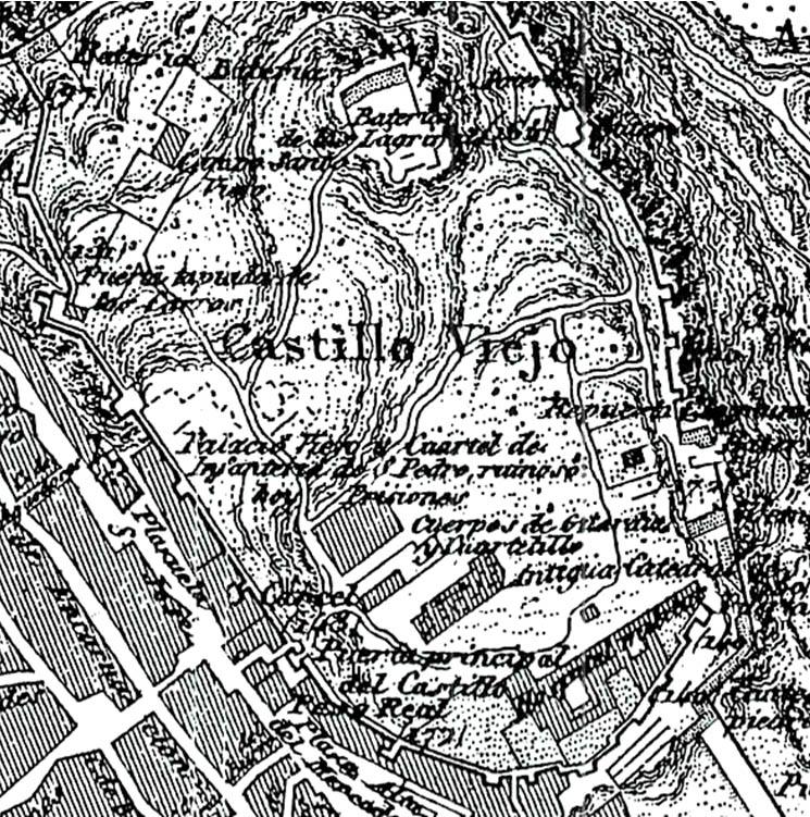 """Lámina 7. Detalle del """"Castillo Viejo"""" en el plano de Badajoz de Coello de 1853."""