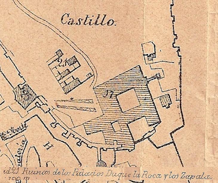 Lámina 9. Detalles del castillo y de la leyenda del plano anónimo de 1892.