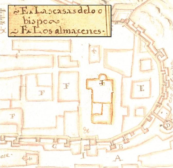 Lámina 2. Detalle de la Iglesia de Santa María del Castillo y sus casas anexas en el plano anónimo del Archivo Militar de Estocolmo. Hacia 1645.
