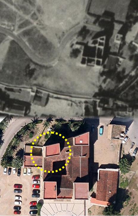 Lámina 6. La torre NE en vistas cenitales de 1943 y 2013