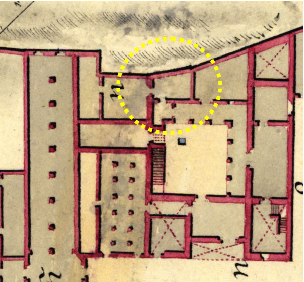 Lámina 7. Detalle de la zona de la torre NE del plano de José de Gabriel de 1803.