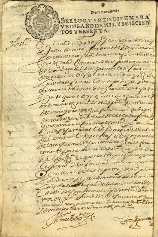 Lámina 1. Posesión tomada del Mayorazgo de los Fresnos en 1660
