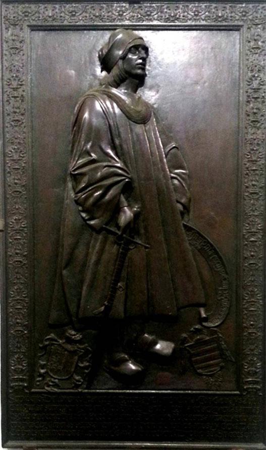 Lámina 1. Lauda sepulcral de Lorenzo Suarez de Figueroa y Mendoza. Catedral de Badajoz.