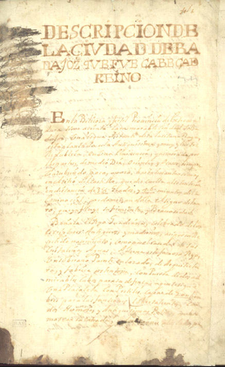 Página inicial de Descripción de la Ciudad de Badajoz. Real Academia Española. Madrid.