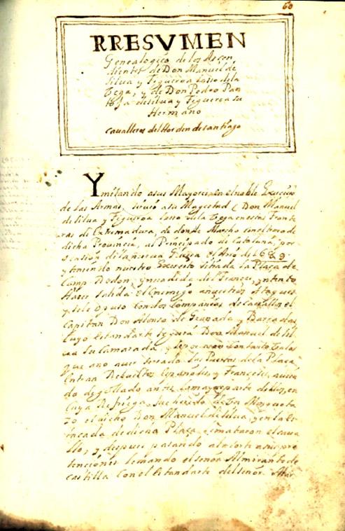 """Página inicial del """"Resumen genealógico…"""" Real Academia Española. Madrid."""