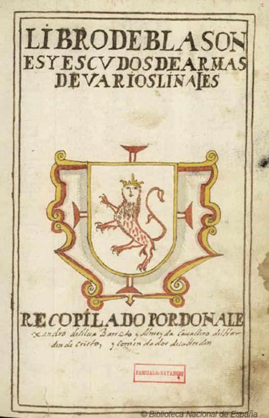Lámina 3. Libro de blasones y escudos de varios linajes. Biblioteca Nacional. Madrid.