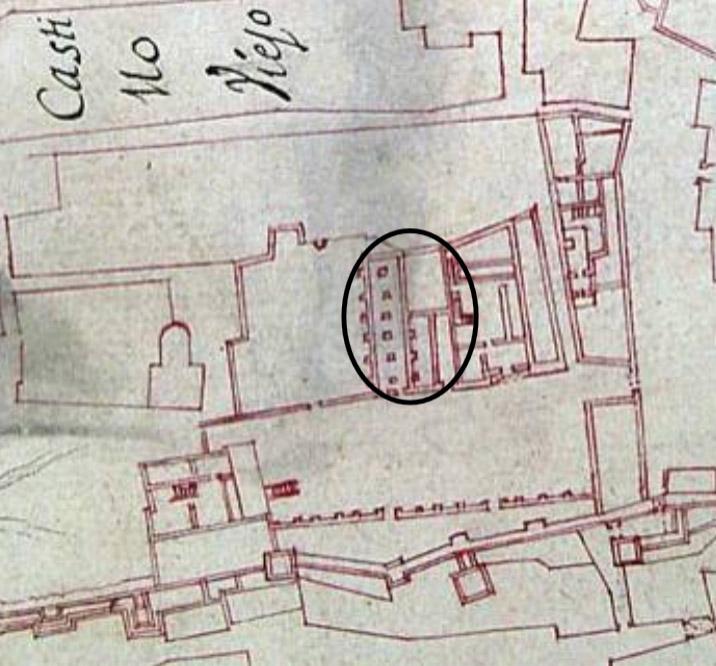 Lámina 1. Plano de Diego de Bordick de 1735. En el círculo, las casas anexas a la casa fuerte.