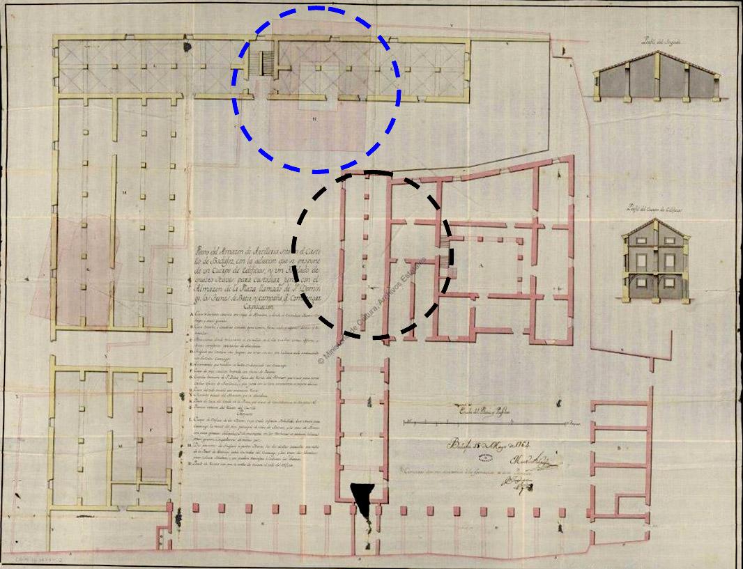 """Lámina 4. Casas """"anexas e incorporadas a la casa fuerte"""" en el plano de Martín de Gabriel de 1764. En el círculo azul, casa de Juan de Solís."""