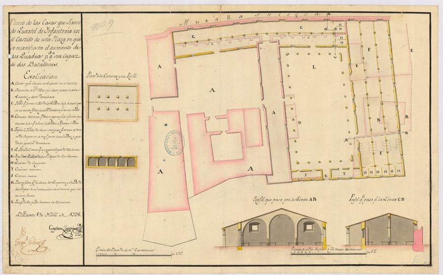 Lámina 11. Plano de Cuartel de Infantería del Castillo, de Cayetano Zappino. 1798.
